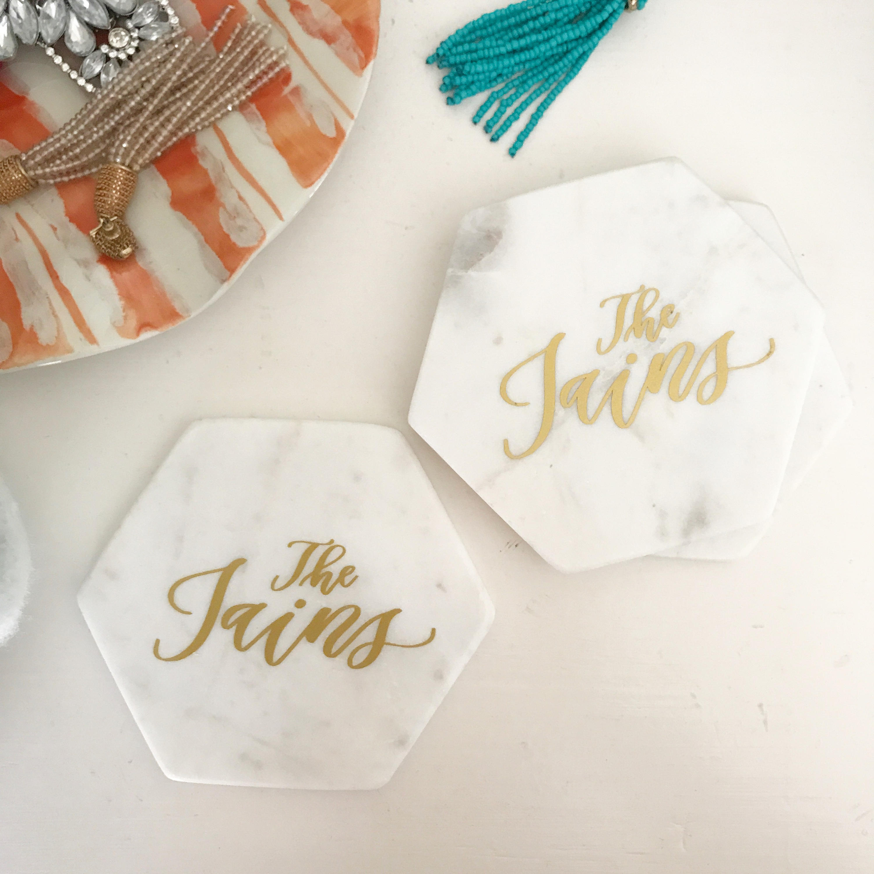 Personalized Marble Coasters White Marble Coasters