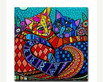 SALE ENDING- cats art tile print on ceramic by Heather Galler Cat folk Art (HG101)