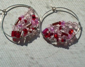 Pink Red Glass Beads Wire Wrapped Silver Hoop Earrings by hipknitta