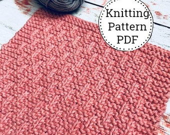 Knitting Pattern | Dishcloth Pattern | Knitted Dishcloth | Basket Weave Pattern | Instant Download PDF |