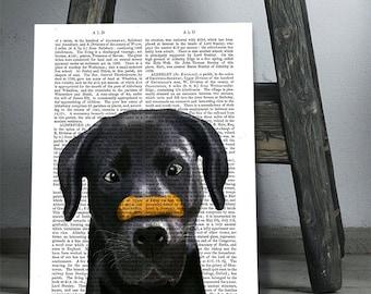 Black Labrador Print Bone on Nose black lab art black lab print labrador gifts Black Lab Decor funny labrador funny dog print cute labrador