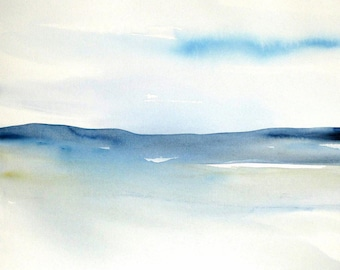 Original Abstract Landscape Watercolor, Contemporary Seascape Watercolor, Modern abstract Watercolor painting, blue abstract.