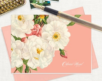 personalized stationery set - WHITE and CORAL wild ROSES - set of 8 folded note cards - stationary - botanical - floral - flower
