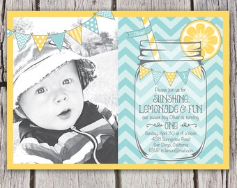 Boys First Birthday Lemonade Invitation - Mason Jar Chevron Bunting Lemonade Stand - Photo Invite - Aqua Yellow - Boy or Girl