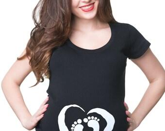 Pregnancy T-shirt Baby Heart Foot Prints Maternity Shirt Pregnancy Tee Shirt Maternity Top