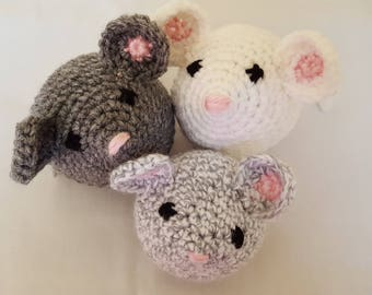 Set Of 3 Mice Stuffed Animal Crochet Toys/ Amigurumi Plush Doll/ Handmade Toys/ Gray And White/ Three Blind Mice/ Gift For Kids
