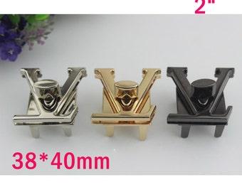 "10--500sets 38*40mm, 1 1/2""  Victory V Design  gold  ,silver,gun-metal color turn lock bag closure  , bag twist lock wholesale  ks-475"