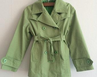 Jahrgang/Kinder/Trenchcoat/Mantel/Frühling/Jacke/grün/gefüttert/made in Finnland, Mädchen, jungen, 105 cm/4 Jahre/zeitlos/klassisch/Kinder/Retro
