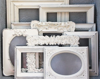 White Picture Frame Set Of Six Shabby Chic Vintage Hand Painted & Distressed