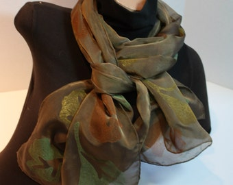 Silk Chiffon Scarf Dark Bronze Brown with Ginkgo Leaves in Green, Orange & Yellow  Iridescent Long Lightweight Hand Block Printed
