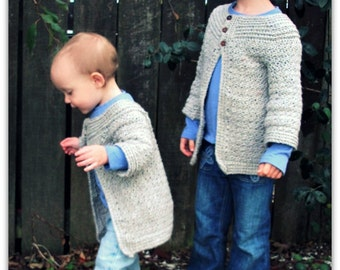 Download Now - CROCHET PATTERN Girls Classic Cardigan - Sizes 1-2 to 8 years - Pattern PDF
