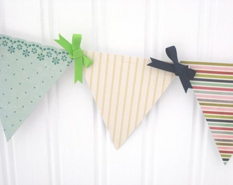 Preppy Beach Paper Pennant Banner Decoration for Birthday, Graduation, Barbeque, or Party