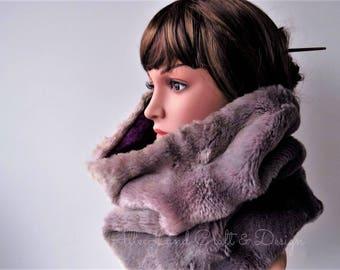Faux Fur Cowl Scarf, Light Purple & Grey Fur, Purple Sweater Fleece Lining, SPRING SALE 50% OFF