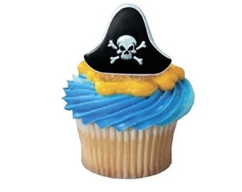 24 Pirate Cupcake toppers, pirate, pirate birthday, pirate party