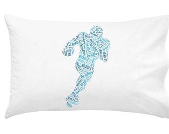 Personalized Pillowcase Football Player Pillow Room Decor Boys Gift Monogram