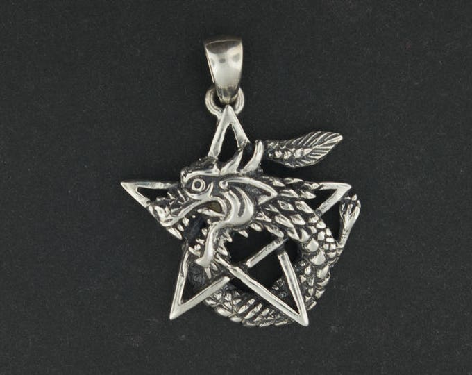 Dragon Pentagram Pendant in Sterling Silver