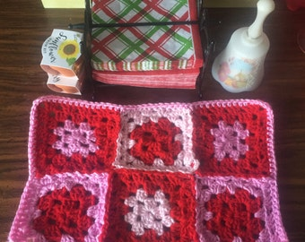 Set of four Granny Square Placemats Made to Order in any Colors