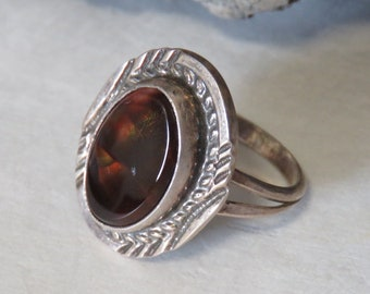 Fire agate ring, sterling silver ring, size 10 1/4, signed GE, Gary Edwards, marked sterling, Navajo, men's or women's, vintage, 7.6 grams