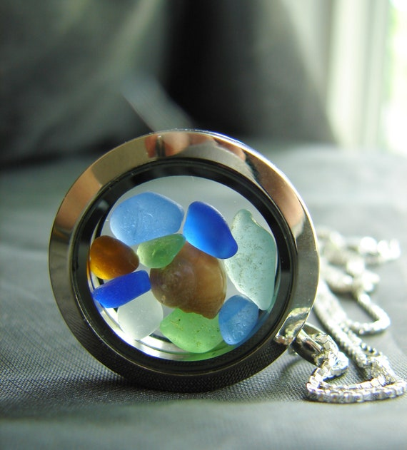 Porthole sea glass locket in bright colours
