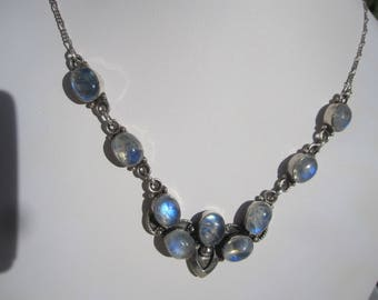 Rainbow Moonstone Sterling Necklace