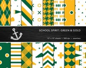 School Spirit Digital Paper Set -- Green & Gold, School Colors, Pep Rally, Homecoming, Scrapbook, Seamless -- Personal or Commercial Use