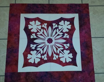 Quilt Top, Pre Designed Wall Hanging Top, Hawaiian Hula Flowers Appliqué Wall Hanging, Arrives Ready to Quilt.