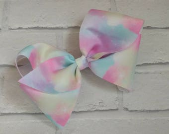 "Large 8"" Pastel Swirls Tye Dye Boutique Hair Bow with alligator clip like JoJo Siwa Bows Dance Moms Signature Keeper Cheer"