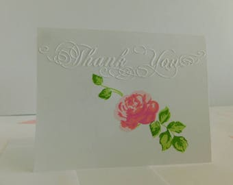 Pink rose Embossed Thank you Card Vintage Pink Rose pattern Thank you Greeting Card Embossed Thank you Greeting Card, pink rose Thanks Card