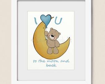 Baby Boys Nursery Wall Art, Teddy Bear Art for Nursery Room, Childrens Wall Art Print, Baby Girls Room Art (459, 460)