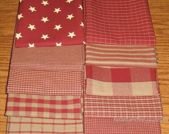 Dunroven House 12 Primitive Country Red Homespun Fabric Fat Quarter Bundle