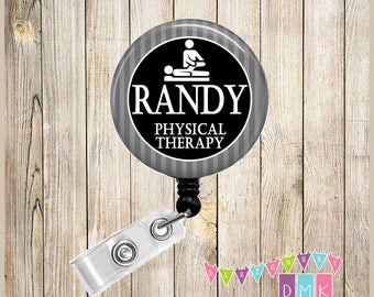 Personalized - Physical Therapy - Grey Stripes  Button Badge Reel - Retractable ID Holder - Alligator or Slide Clip - Male Nurse Gift