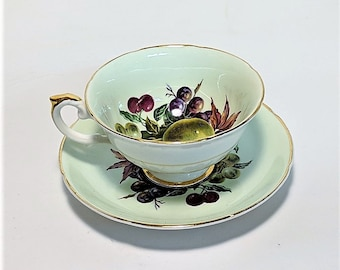 Free Shipping for Royal Grafton Bone China Porcelain Teacup and Saucer Fruit Motif on Pale Green Background Gold Rim #1423