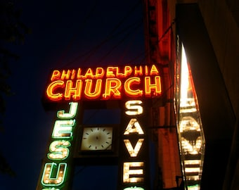 Chicago Photography, Chicago photo, Chicago Art, Mid Century neon sign, JESUS SAVES, Andersonville, Philadelphia Church, night photography