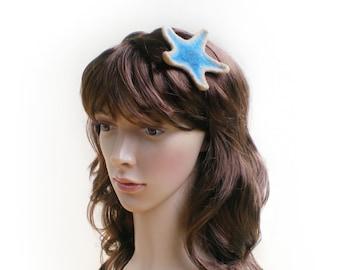 Etoile de mer bleue en laine feutrée, headband bijou de cheveux ou broche, mode plage vacances