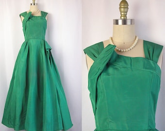 1940s Gown ~ Lorrie Deb Sea Green Taffeta Full Length Evening Gown ~ Swathed & Pleated Asymmetrical Details ~ As Is Condition ~ Size Small