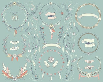 Boho Wreaths Clipart - 67 PNG & Vector Designs - Boho Chic Save The Date Set, Florals, and Hand Drawn Design Elements Clip Art