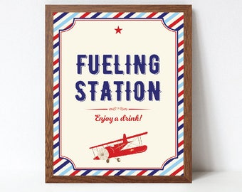 Airplane Fueling Station Sign, Airplane Birthday Drinks Sign, Airplane Baby Shower Drinks Sign, Printable, INSTANT DOWNLOAD