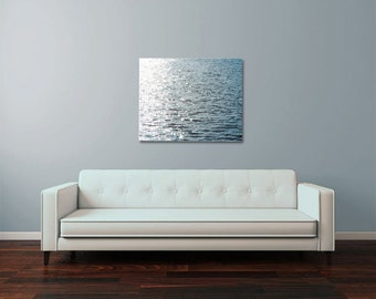 Ocean Photograph - Minimalist Photo - Water Photo - Water - Large Wall Art - Ready to Hang - Wrapped Canvas - Navy Blue White Home Decor