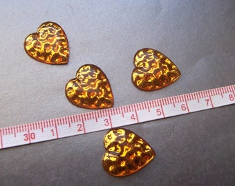 Yellow Foiled Glass Vintage 20x18mm Heart-Shaped Reflector Cabochons 4 Pcs