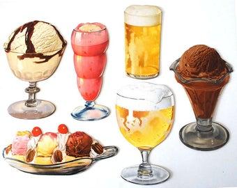 Vintage Diner Signs, Die Cut Cardboard Food, Advertising Signs, Ice Cream Dessert Cut Outs, Bar Signs, Beer Stein Glass, 1950s Wall Hangings