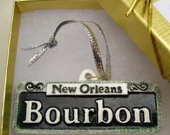 New Orleans Christmas Ornament w Gift Box Bourbon Street St holiday Decoration party favor couple shower gift Sn