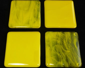 Fused Glass Coasters Sunflower Yellow Opal and Streaky Effect - set of four