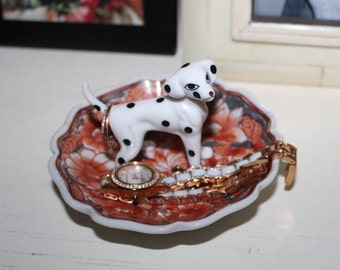 Sweet Spotted Dalmatian Vintage Mini Fire Floral Ring Dish