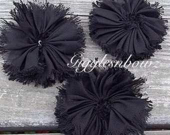 Chiffon Twirl Flowers- Black 3 inch - Fabric Flowers, Flowers for Hair, Flowers for Headband, DIY Hairbow Supplies- Ballerina Flowers