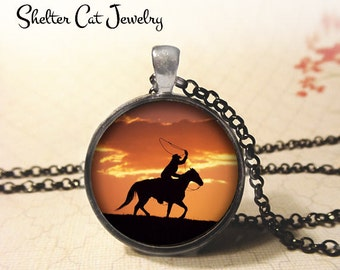 """Cowboy at Sunset Necklace - 1-1/4"""" Circle Pendant or Key Ring - Handmade Wearable Photo Art Jewelry - Horse, Roping Rider, Western Art. Gift"""