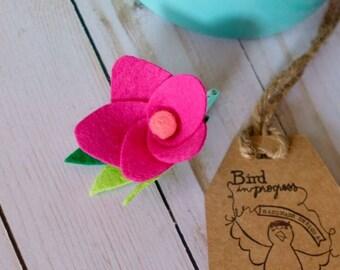 Plumeria Hair Clip, Felt Plumeria Hair Clip, Tropical Hair Clip, Hawaiian Hair Clip, Moana Inspired Hair Clip, Felt Flower, Pink Plumeria
