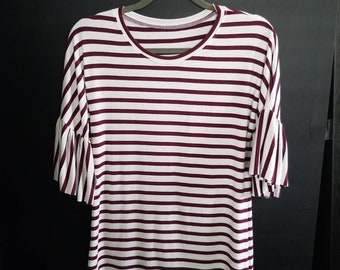 Women's Relaxed Merlot striped Tee With Ruffle sleeve