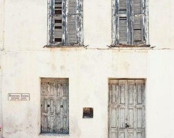 "Greece Photograph Neutral Home Decor Beige Cream Gray Wall Art Rustic Door Print   ""Ivory Gray House"""