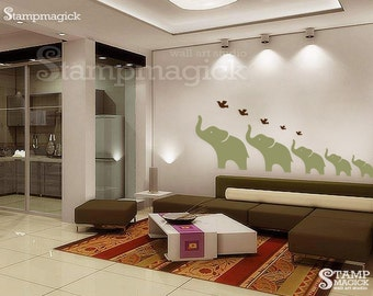 Wall Decal - Elephants Nursery Wall Decor - Wall mural - K090B
