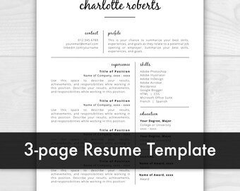 3 Page Creative Resume Template | Resume for Word | Resume Template Instant Download | CV Template | Resume Template Word | Resume Pages